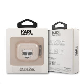 Silikonový kryt Karl Lagerfeld TPU Glitter Choupette Head KLA3UCHGD pro Airpods 3, zlatá