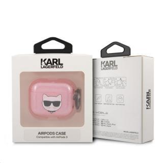Silikonový kryt Karl Lagerfeld TPU Glitter Choupette Head KLA3UCHGP pro Airpods 3, růžová