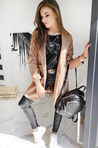 Single-breasted womens coat DRESNO camel NY0384 dámské Neurčeno M