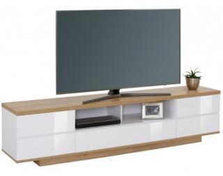 Široká TV skříňka Typ 7714, dub riviera/bílý lesk Bílá