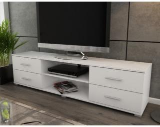 Široký TV stolek Oskar TV, bílý, šířka 180 cm Bílá