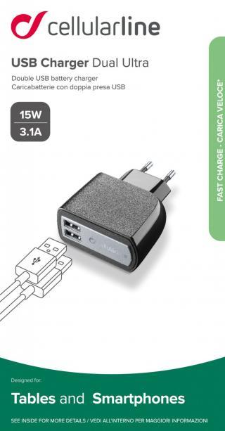 Síťová nabíječka Cellularline 2 x USB konektor, 15W/3.1A, černá
