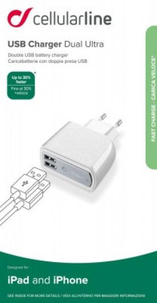 Síťová nabíječka Cellularline 2x USB konektor, 15W/3.1A, bílá