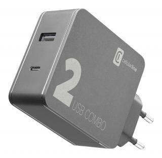 Síťová nabíječka Cellularline Multipower 2 Combo s USB-C portem, 42W, černá