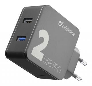 Síťová nabíječka Cellularline Multipower 2 PRO s technologií Smartphone Detect, 2 x USB port, 30W, černá