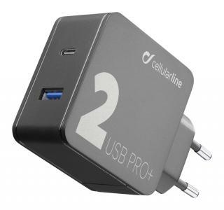 Síťová nabíječka Cellularline Multipower 2 PRO  s technologií Smartphone Detect, USB-C   USB port, 36W, černá