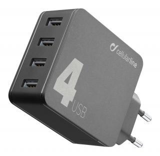 Síťová nabíječka Cellularline Multipower 4 s technologií Smartphone Detect, 4 x USB port, 42W, černá