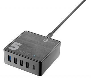 Síťová nabíječka Cellularline Multipower 5 Fast , 4xUSB   USB-C port, 60W, černá