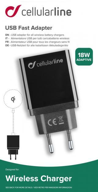 Síťová nabíječka Cellularline pro bezdrátové nabíječky, 18W, černá