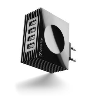 Síťová nabíječka CellularLine Quad Ultra 4xUSB, 21W/4.2 A max, černá