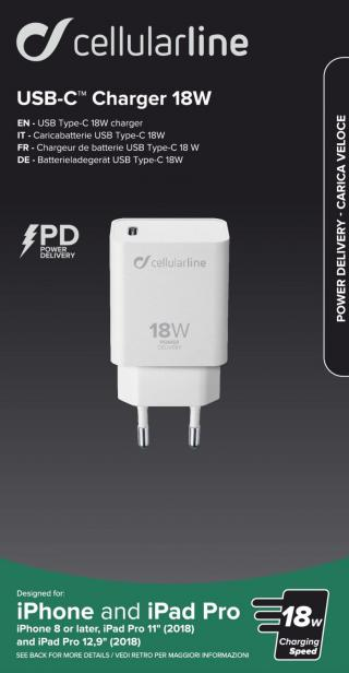 Síťová nabíječka Cellularline s USB-C, Power Delivery (PD), 18 W, bílá