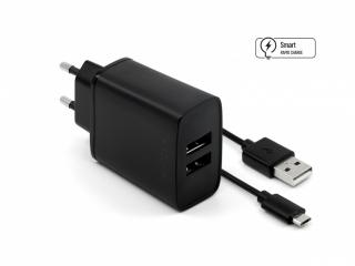 Síťová nabíječka FIXED, 2xUSB a kabel USB/micro USB, 1m, 15W black