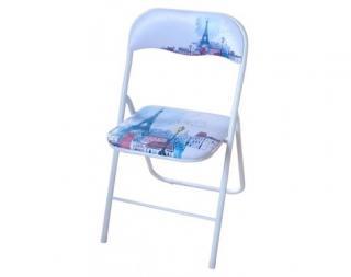 Skládací židle Jamos, motiv Paříže Bílá