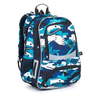 Školní batoh modro bílý v graffiti stylu Topgal NIKI 21022 B,Školní batoh modro bílý v graffiti stylu Topgal NIKI 21022 B pánské 43 cm