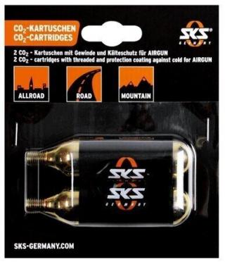 SKS CO2-Cartridges Set of 2 16g with Thread Black