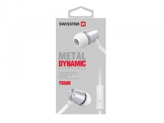 Sluchátka Swissten Earbuds Dynamic YS500, stříbrnobílá