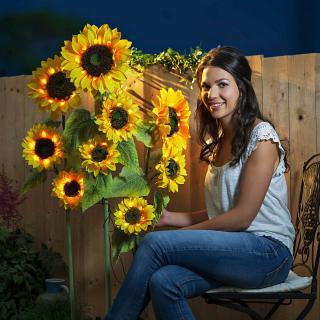 Solární zahradní zápich slunečnice, 3 kusy