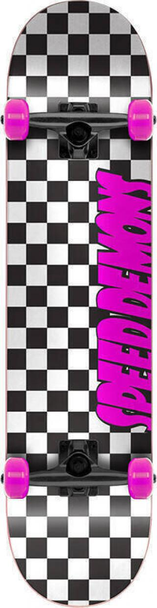 Speed Demons Checkers Skateboard Complete 7,25 Checkers Pink Black