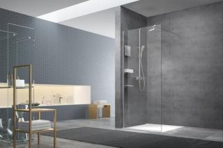 Sprchová zástěna walk-in Walk-In / dveře 90 cm s profilem, zavětrováním a dopňky Swiss Aqua Technologies Walk-in SATBWI90PRDOPL chrom
