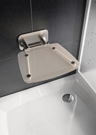 Sprchové sedátko Ravak OVO B sklopné š. 36 cm čirá B8F0000051 chrom čirá