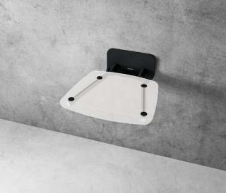 Sprchové sedátko Ravak OVO B sklopné š. 36 cm čirá/černá B8F0000059 černá čirá