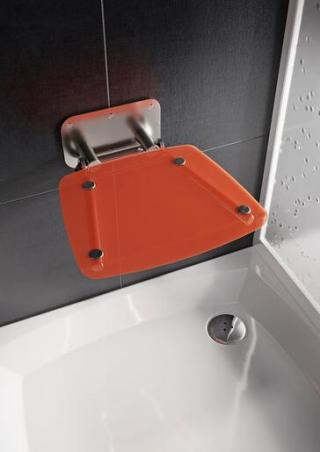 Sprchové sedátko Ravak OVO B sklopné š. 36 cm oranžová B8F0000053 chrom oranžová