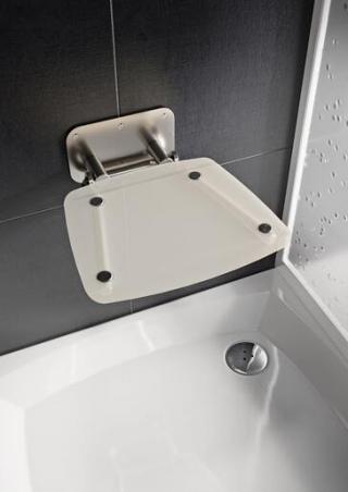 Sprchové sedátko Ravak OVO B sklopné š. 36 cm průsvitně bílá B8F0000052 chrom průsvitně bílá