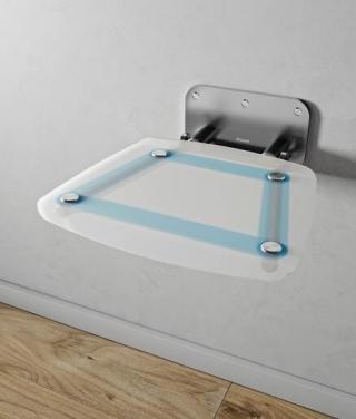 Sprchové sedátko Ravak OVO B sklopné š. 36 cm průsvitně bílá/černá B8F0000055 chrom průsvitně bílá