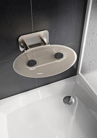 Sprchové sedátko Ravak OVO P sklopné š. 41 cm čirá B8F0000048 chrom čirá