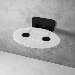Sprchové sedátko Ravak OVO P sklopné š. 41 cm čirá/černá B8F0000056 černá čirá