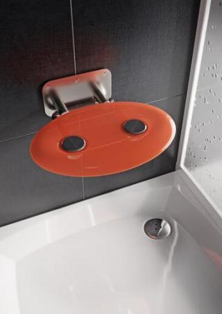 Sprchové sedátko Ravak OVO P sklopné š. 41 cm oranžová B8F0000050 chrom oranžová