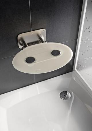 Sprchové sedátko Ravak OVO P sklopné š. 41 cm průsvitně bílá B8F0000049 chrom průsvitně bílá