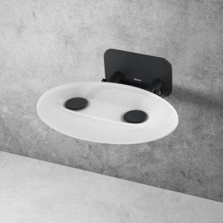 Sprchové sedátko Ravak OVO P sklopné š. 41 cm průsvitně bílá/černá B8F0000057 černá průsvitně bílá
