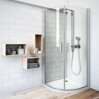 Sprchový kout čtvrtkruh 100x100x201,2 cm Roth Tower Line chrom matný 722-1000000-01-02 stříbro