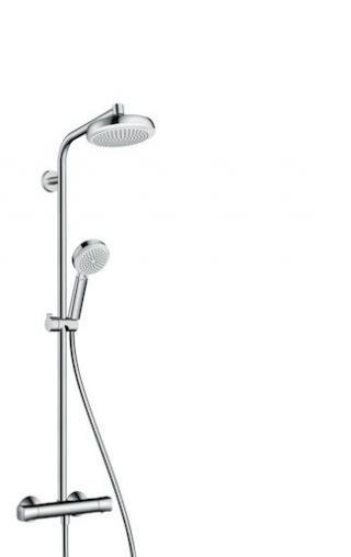 Sprchový systém Hansgrohe Crometta na stěnu s termostatickou baterií bílá/chrom 27264400 chrom bílá
