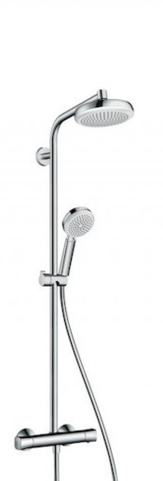 Sprchový systém Hansgrohe Crometta na stěnu s termostatickou baterií bílá/chrom 27265400 chrom bílá