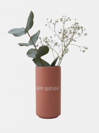 Starorůžová váza Design Letters Happy Birthday