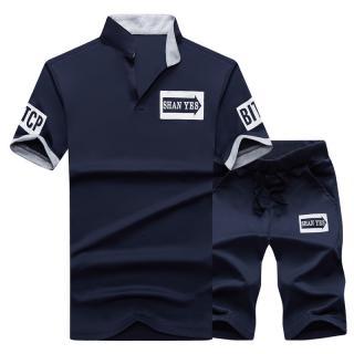 Stylový pánský set - Košile a šortky - 4 barvy Barva: tmavě modrá, Velikost: XS