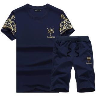 Stylový pánský set - Tričko a kraťasy - 3 barvy Barva: tmavě modrá, Velikost: XS