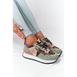 Suede Sport Shoes On A Platform GOE HH2N4002 Green-Gold dámské Neurčeno 38