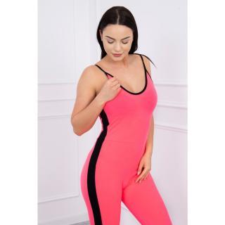 Suit with stripes on the sides pink neon dámské Neurčeno One size