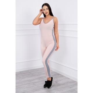 Suit with stripes on the sides powdered pink dámské Neurčeno One size