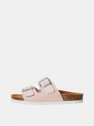 Světle růžové kožené pantofle VERO MODA Carla dámské světle růžová 36