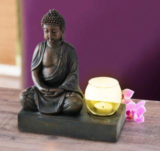 Svícen buddha, 25 cm