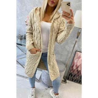 Sweater with hood and pockets light beige dámské Neurčeno One size