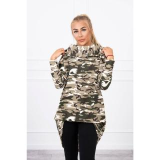 Sweatshirt with long back camo khaki ecru dámské Neurčeno One size