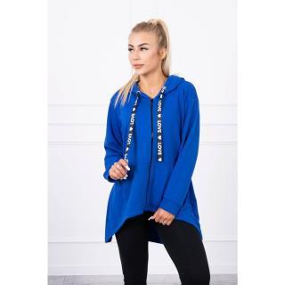 Sweatshirt with longer back and hood mauve-blue dámské Neurčeno One size