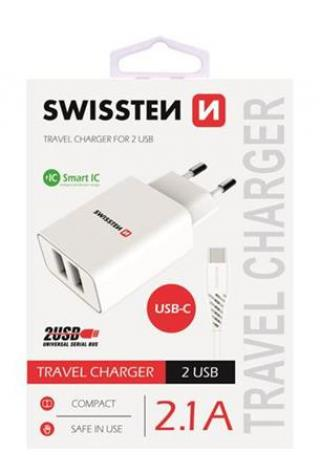 SWISSTEN SÍŤOVÝ ADAPTÉR SMART IC, CE 2x USB 2,1 A POWER BÍLÝ   DATOVÝ KABEL SWISSTEN USB / TYPE C 1,2M, BÍLÝ