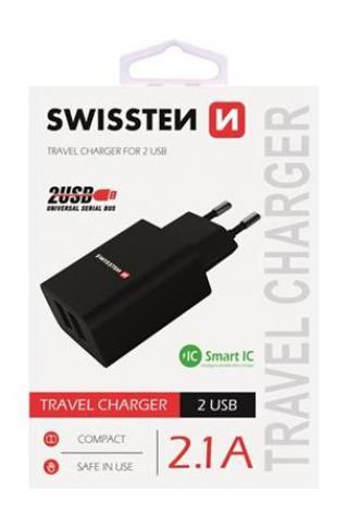 SWISSTEN SÍŤOVÝ ADAPTÉR SMART IC, CE 2x USB 2,1 A POWER, ČERNÁ