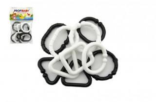 TEDDIES Plastové tvary černobílé řetěz 10 ks černá
